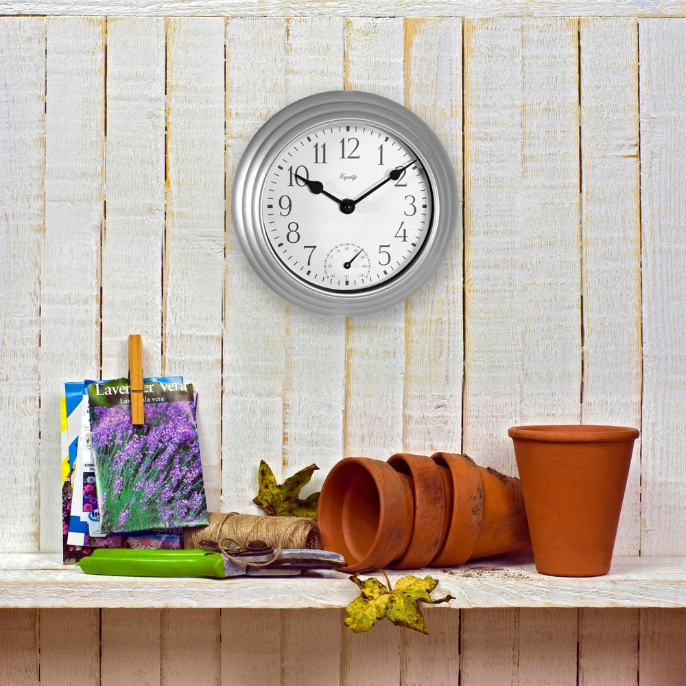 8 in. In/Out Metallic Silver Quartz Wall Clock with Thermometer