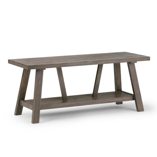 Simpli Home Dylan Solid Wood 48 in. Wide Modern Industrial Modern Industrial Entryway Bench in Driftwood