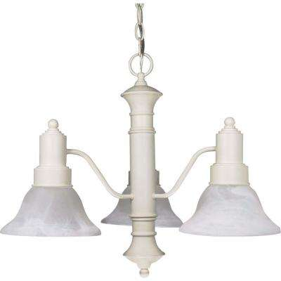 3-Light Textured White Incandescent Ceiling Chandelier with Glass Shade