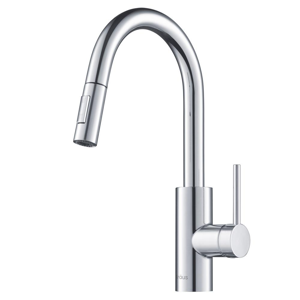 kraus kitchen faucets reviews kraus oletto single handle pull down kitchen faucet in chrome finish kpf 2620ch the home depot 8451