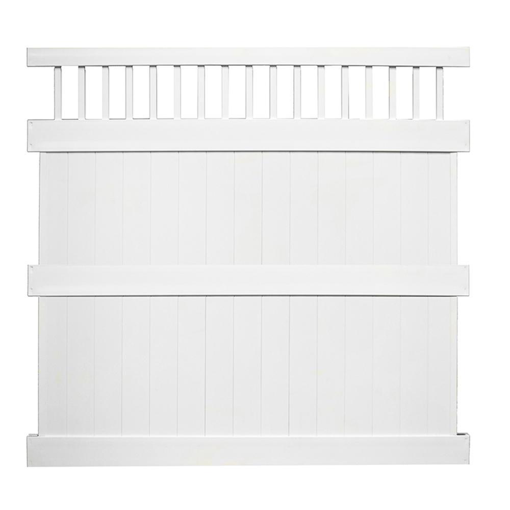 Mason 8 ft. H x 8 ft. W White Vinyl Privacy Fence Panel Kit