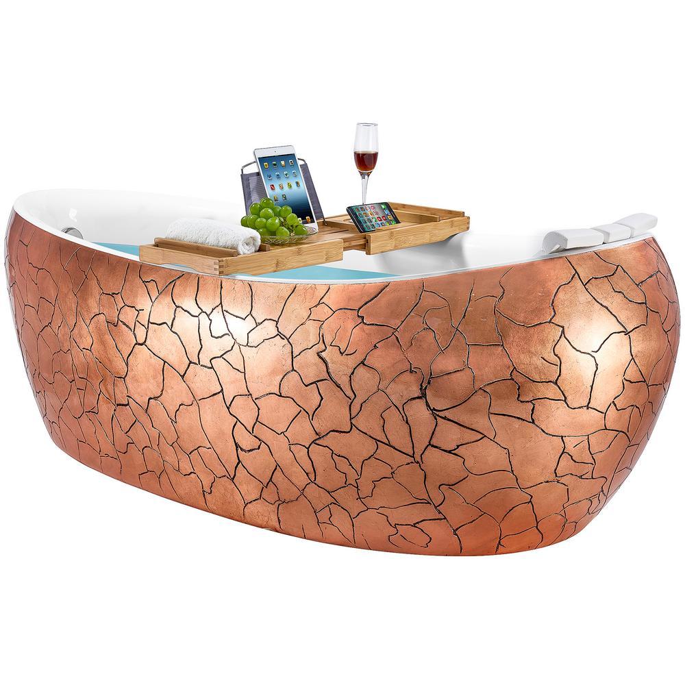 Freestanding Bathtub 69 in. Fiberglass Flat Bottom Bathtub Modern Stand Alone Tub Luxurious SPA Tub in Rose Gold Acrylic