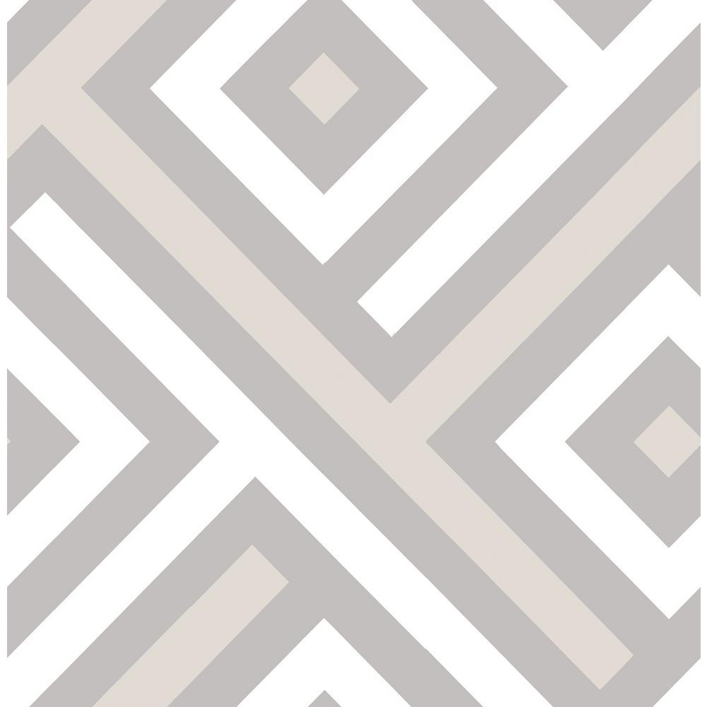 Seabrook Designs Mirante Chevron Metallic Silver and White Block Wallpaper