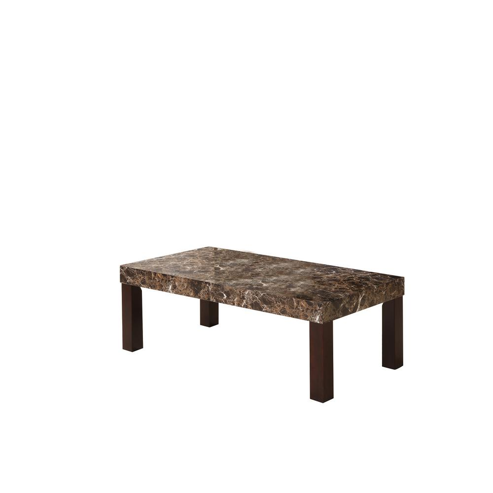 Dark Marnee Faux Marbelized Granite Coffee Table
