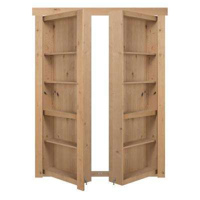 60 in. x 80 in. Flush Mount Assembled Alder Unfinished In-Swing Solid Core Interior French Bookcase Door