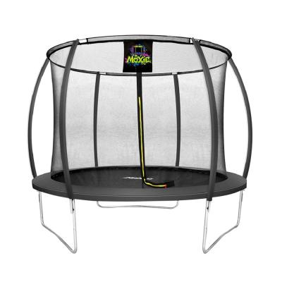 10 ft. Charcoal Pumpkin-Shaped Outdoor Trampoline Set with Premium Top-Ring Frame Safety Enclosure