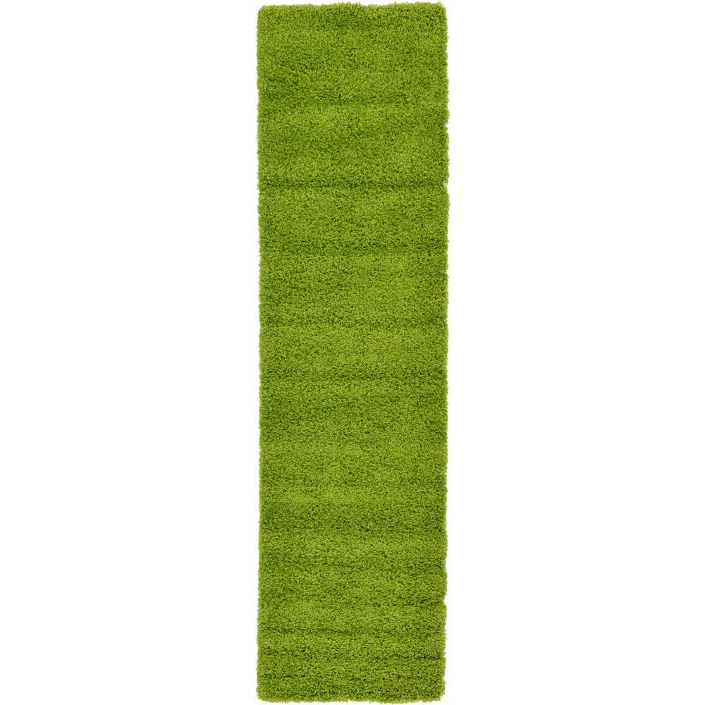 Solid Shag Grass Green 10 ft. Runner Rug