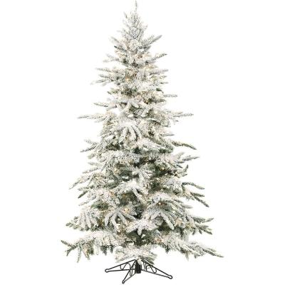 7.5 ft. Pre-lit LED Flocked Mountain Pine Artificial Christmas Tree with 550 Clear String Lights