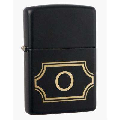 "Black Matte Lighter with Initial ""O"""