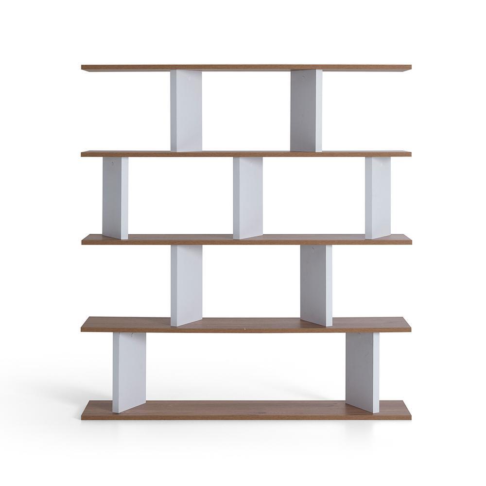 Ballard Walnut and White Modern Bookcase
