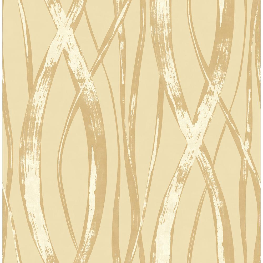Barbados Metallic Gold and Tan Weaving Wallpaper