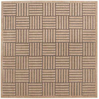 Cottage Gray/Beige 7 ft. x 7 ft. Indoor/Outdoor Square Area Rug