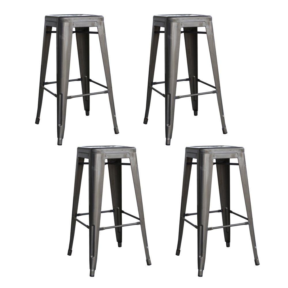 AmeriHome AmeriHome Loft Style 30 in. Stackable Metal Bar Stool in Gunmetal Silver (Set of 4), Grey