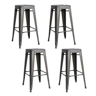 Loft Style 30 in. Stackable Metal Bar Stool in Gunmetal Silver (Set of 4)