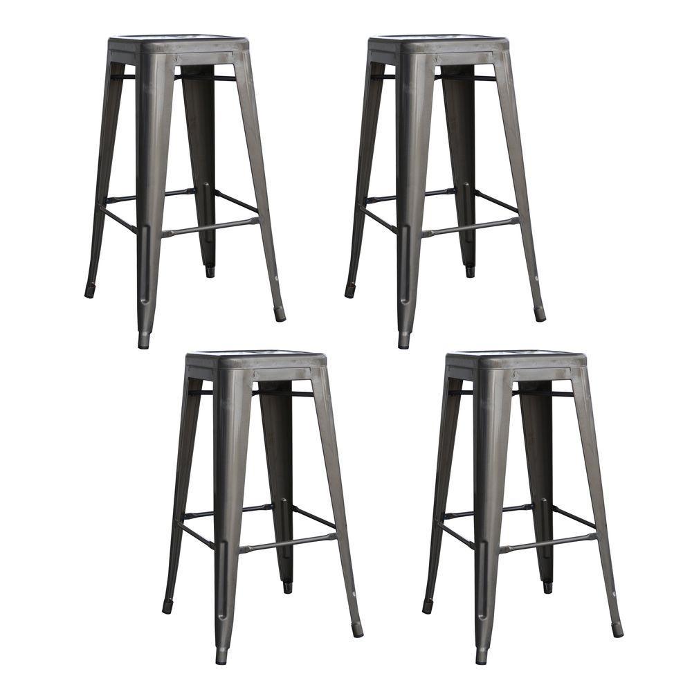 Loft Style 30 in. Stackable Metal Bar Stool in Gunmetal Silver (Set of 4)