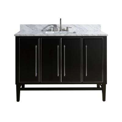 Mason 49 in. W x 22 in. D Bath Vanity in Black with Silver Trim with Marble Vanity Top in Carrara White with White Basin