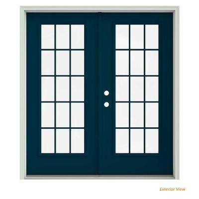 72 in. x 80 in. Revival Blue Painted Steel Right-Hand Inswing 15 Lite Glass Stationary/Active Patio Door