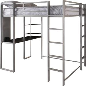 DHP Alana Silver Full Metal Loft Bed with Desk DE85862 - The ...