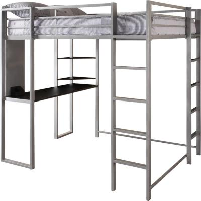 Alana Silver Full Metal Loft Bed with Desk