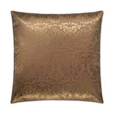 Parisian Square Copper Feather Down 24 in. x 24 in. Standard Decorative Throw Pillow