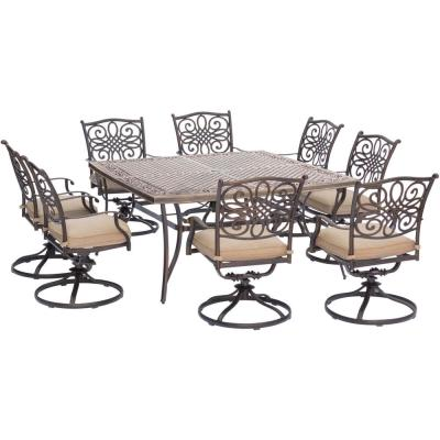 Seasons 9-Piece Aluminum Outdoor Dining Set with Tan Cushions 8 Swivel Chairs and Square Table