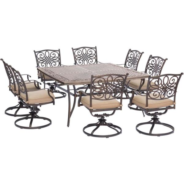 Cambridge Seasons 9 Piece Aluminum Outdoor Dining Set With Tan Cushions 8 Swivel Chairs And Square Table Seas9pcswsq 8 The Home Depot