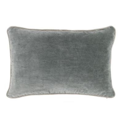 Heirloom Velvet 14 in. x 20 in. Rectangle Solid Stonewash Bay Green Decorative Pillow