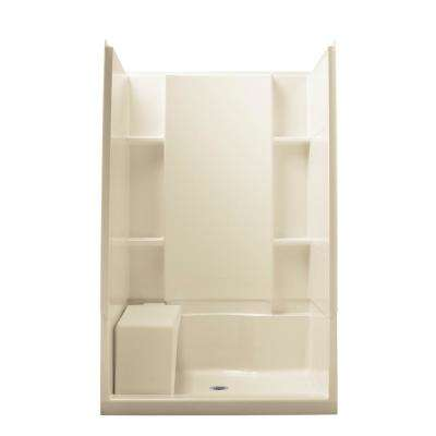 Accord 48 in. W x 74.5 in. H Seated Shower Stall in White
