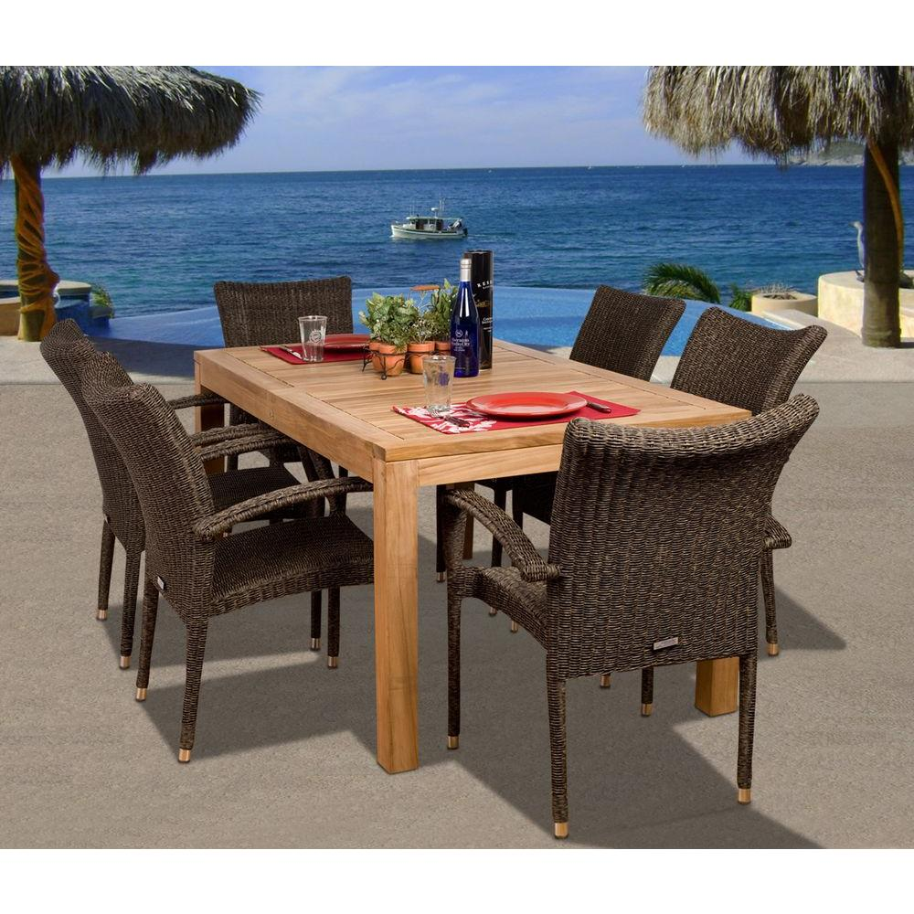 Amazonia Brussels 7-Piece Teak/All-Weather Wicker Patio Dining Set ...