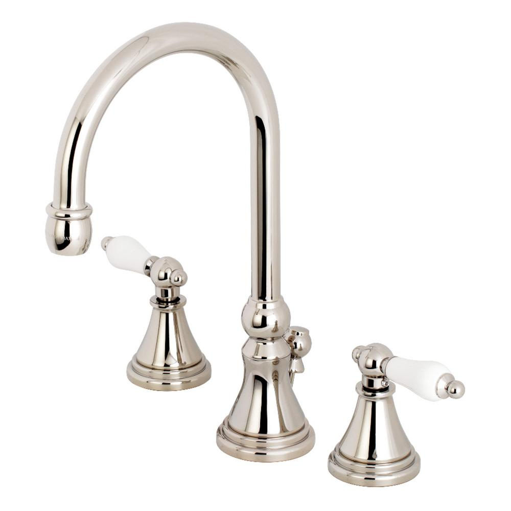 Kingston brass governor porcelain lever 8 in widespread 2 handle high arc bathroom faucet in for Polished brass high arc bathroom faucet