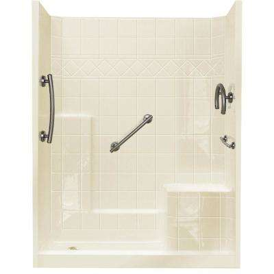 32 in. x 60 in. x 77 in. Freedom Low Threshold 3-Piece Shower Kit in Biscuit Brushed Nickel Package, RHS Seat, LHS Drain