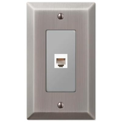 Metallic 1 Gang Phone Steel Wall Plate - Antique Nickel