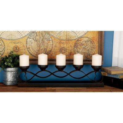 26 in. 5-Light Bronze-Finished Iron Wave Candelabra
