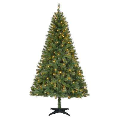 6.5 ft. Pre-Lit LED Greenville Spruce Artificial Christmas Tree with Warm White Lights