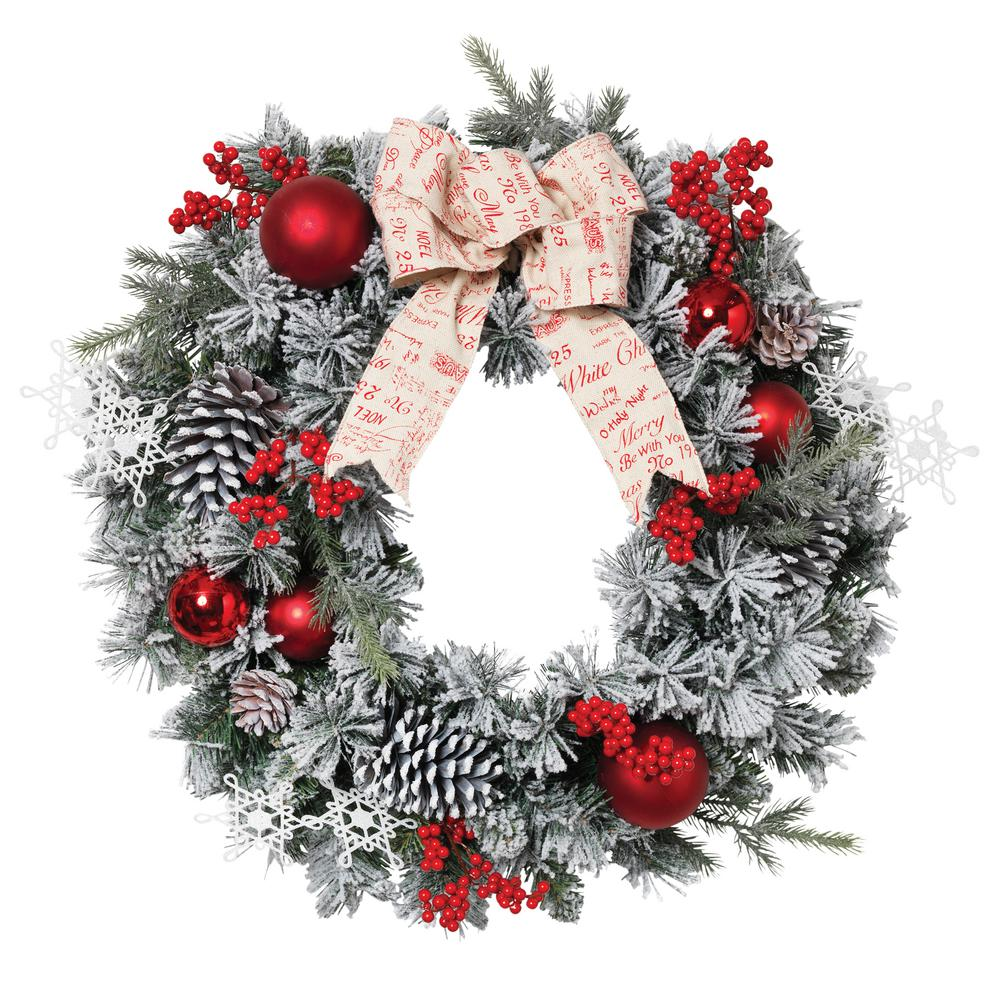24 in. Dia Flocked Pine Wreath-2376430EC - The Home Depot