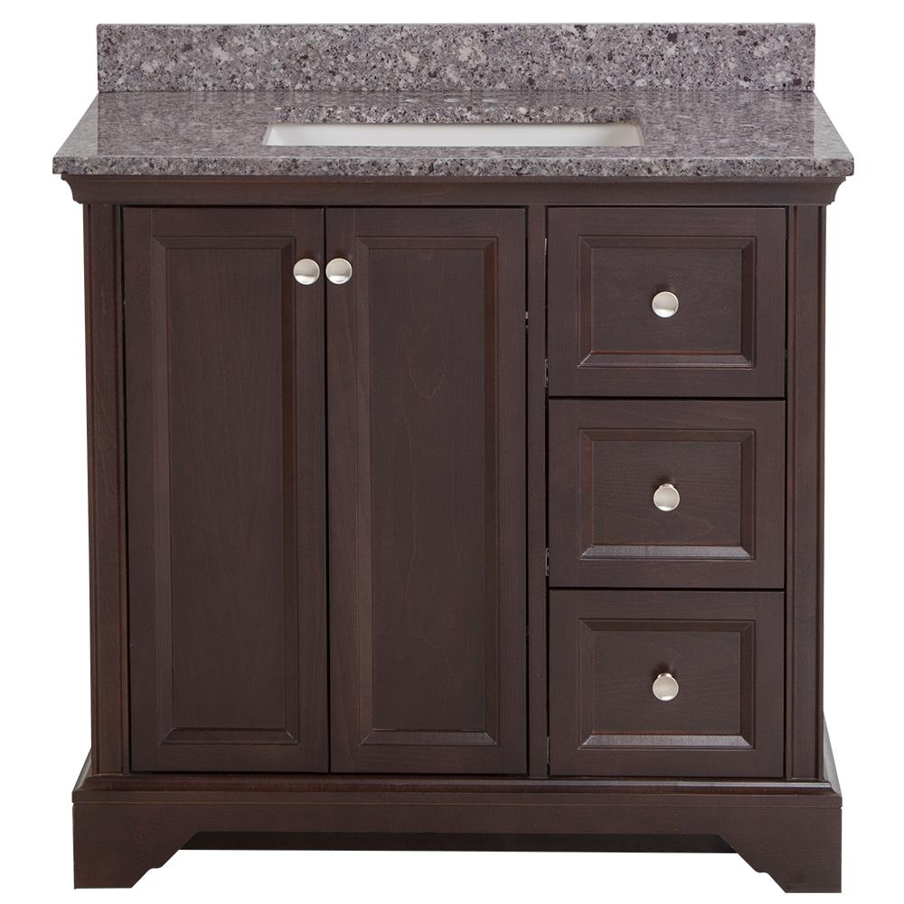 Home Decorators Collection Stratfield 37 in. W x 22 in. D Bath Vanity in Chocolate with Stone Effect Vanity Top in Mineral Gray with White Sink