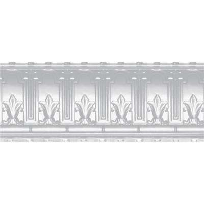 9-1/2 in. x 4 ft. x 9-1/2 in. Powder-Coated White Nail-up/Direct Application Tin Ceiling Cornice (6-Pack)