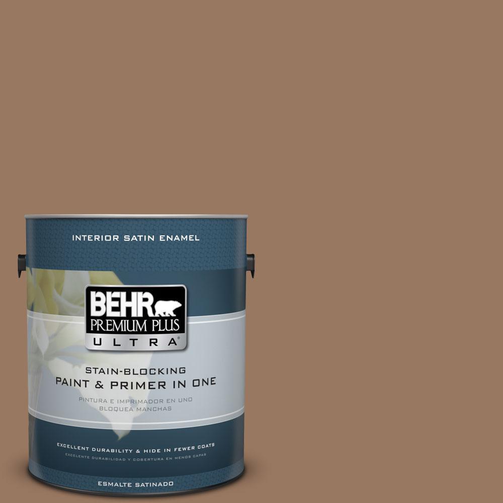 BEHR Premium Plus Ultra 1-gal. #ECC-40-3 Seasoned Acorn Satin Enamel Interior Paint