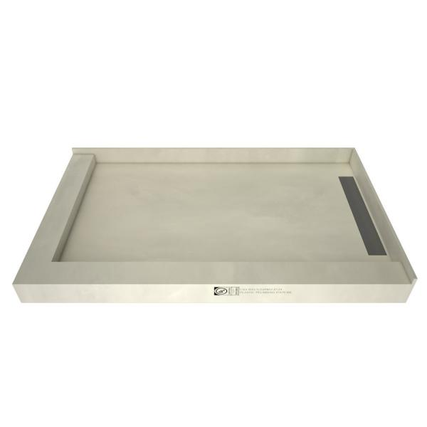 WonderFall Trench 32 in. x 48 in. Double Threshold Shower Base with Right Drain and Tileable Trench Grate