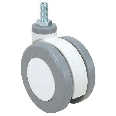 2-15/16 in. Grey and White Swivel without Brake Threaded Stem Caster, 154 lb. Load Rating