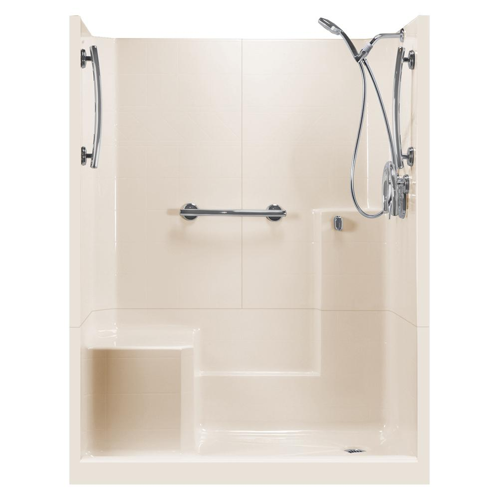 Ella 60 in. x 33 in. x 77 in. Freedom 3-Piece Low Threshold Shower ...