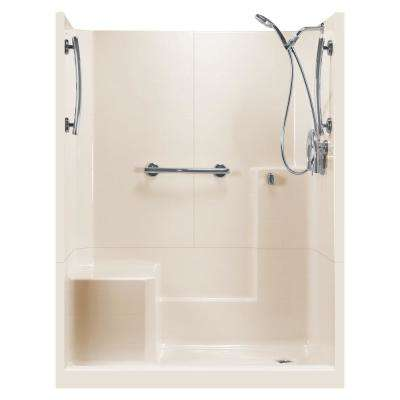 60 in. x 33 in. x 77 in. Freedom 3-Piece Low Threshold Shower Stall in Bone LHS Molded Seat Accessories Right Drain