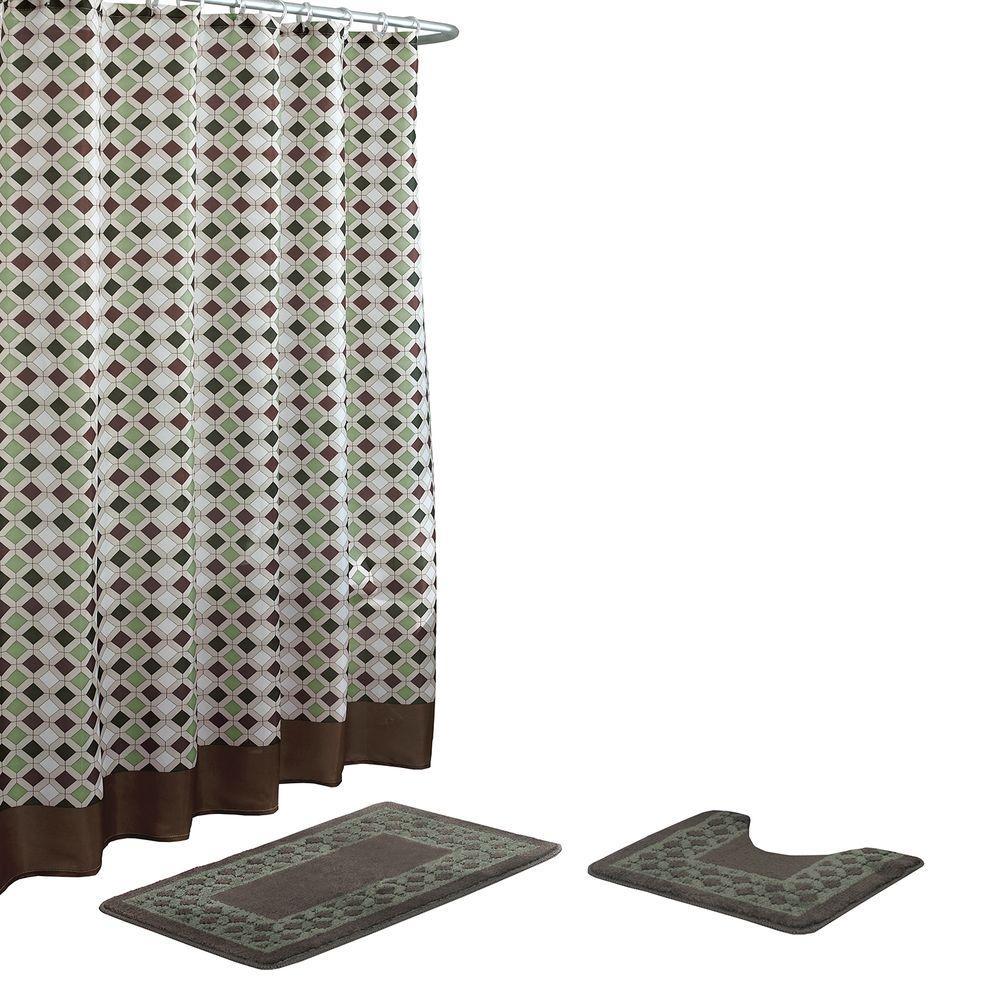 Christine Chocolate/Sage Bath Rug and Shower Curtain Set (15-Piece)