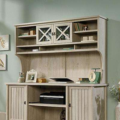 medium desk salt l oak sauder computer hutch shaped in size harbor of with view paint antiqued corner w