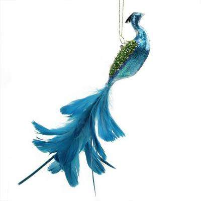 9 in. Regal Peackock Turquoise Blue and Green Glass Hanging Christmas Ornament