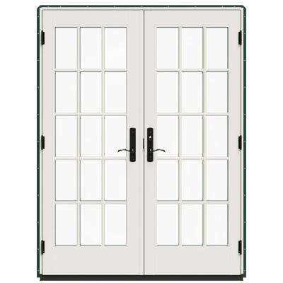60 in. x 80 in. W-4500 Hartford Green Clad Wood Left-Hand 15-Lite French Patio Door with White Paint Interior