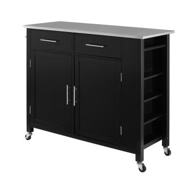 Savannah Black Full-Size Kitchen Island with Stainless Steel Top