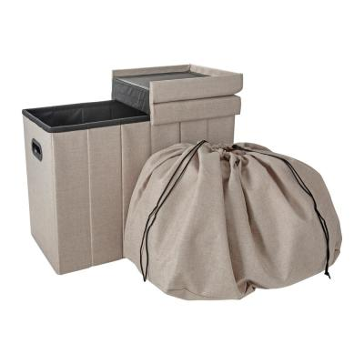 Collapsible Flip Top Hamper Ottoman in Natural