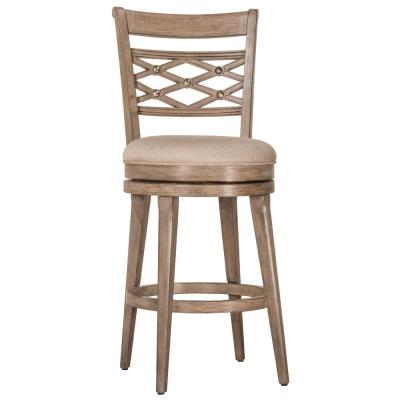 Chesney 30 in. Weathered Gray/Putty Swivel Bar Stool