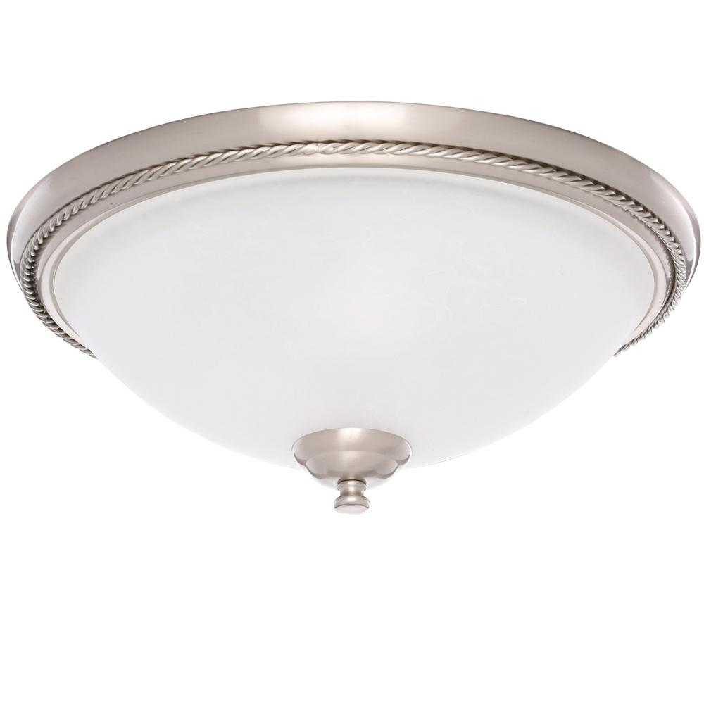 Progress Lighting Pavilion Collection 15 in. 2-Light Brushed Nickel Hallway Flush Mount with Etched Watermark Glass